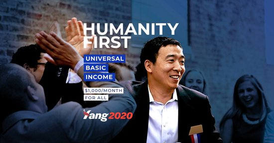 Dailykos Image Andrew Yang for US President 2020 Election Humanity First Universal Basic Income Freedom Dividend 1000 month for all