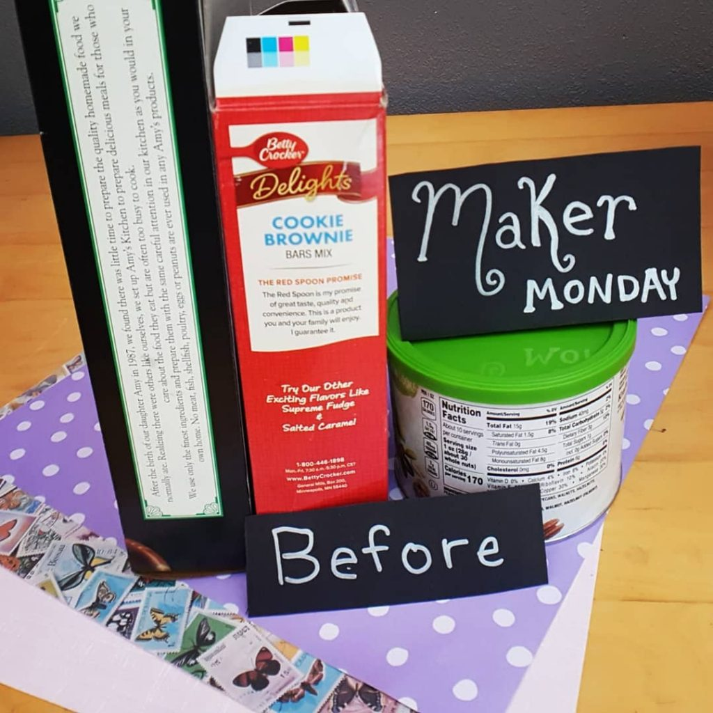 Repurposed Materials food packaging scrapbook paper Maker Monday SparklewithSara